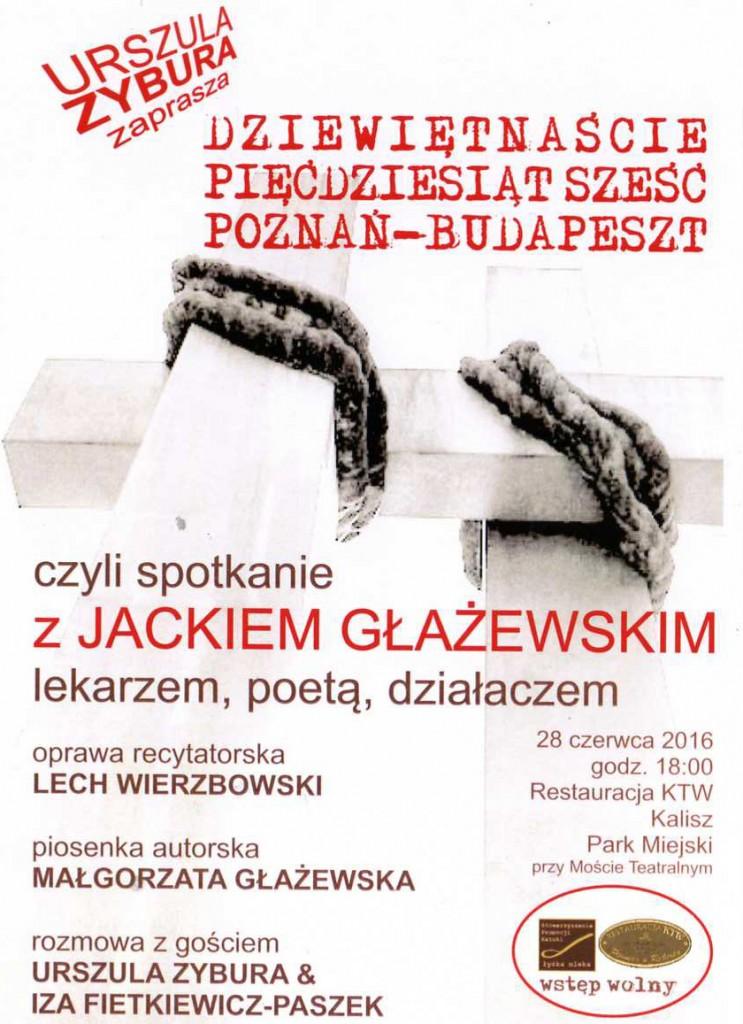 Plakat spotkania z Jackiem Głażewskim